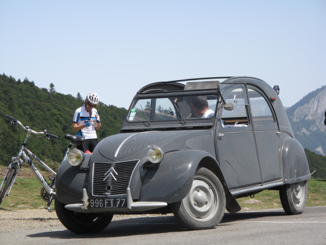 Col de Peyresourde, France; bike and deux cheveaux