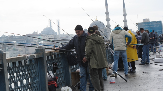 Fishermen, Galata Bridge Istanbul, Suleymaniye and Blue Mosque in background