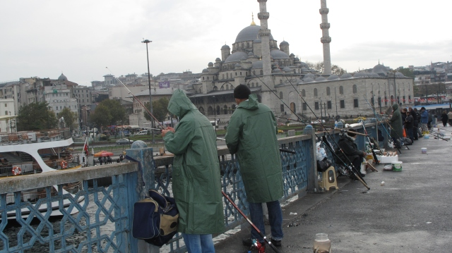 Fishermen on Galata Bridge, Istanbul, Suleymaniye Mosque in background