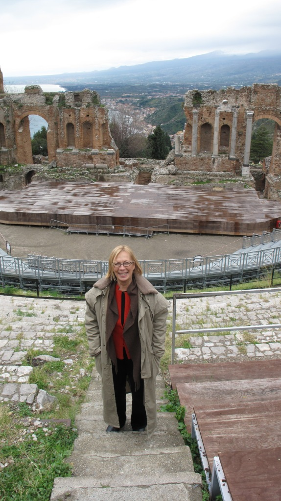 Moi, Greek Temple at Taormina, Mt. Etna in background