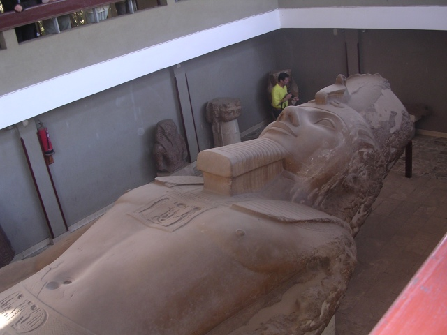 Statue of Ramses II and tour guide