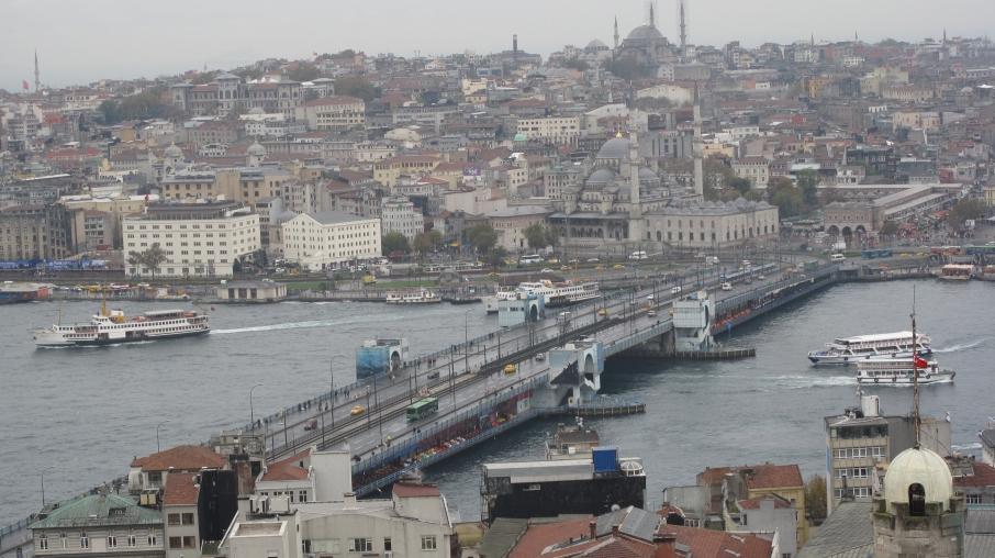 View of 2 Mosques, Bosphorus and bridge