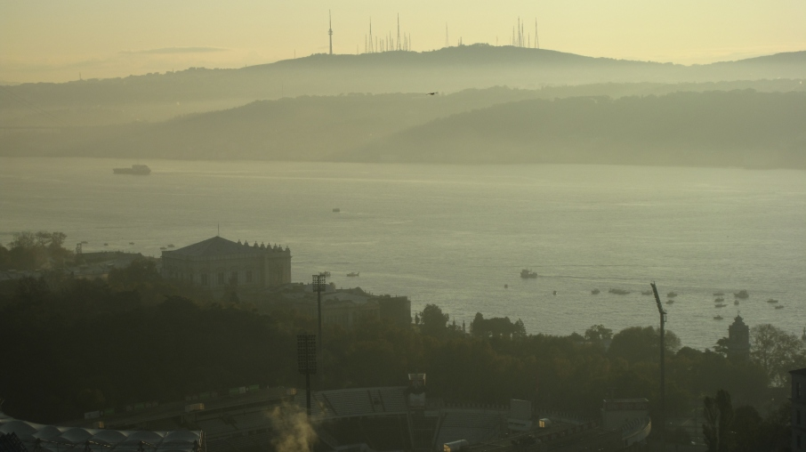 Morning mist on the Bosphorus; standing in Europe, looking at Asia