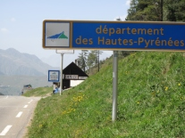 Entering the departement des Hautes-Pyrenees.  Crepe cafe in the background.