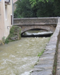 Rushing water through town
