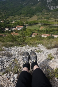 My feet resting before the DESCENT into St. Jean de Buèges